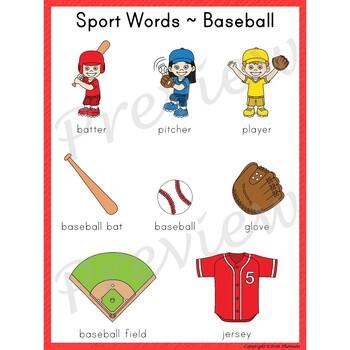 Writing Center Word List ~ Sport Words {Baseball}