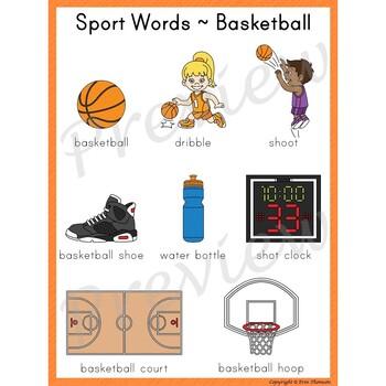 Writing Center Word List ~ Sport Words {Basketball}