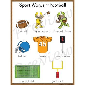 Writing Center Word List ~ Sport Words {Football}