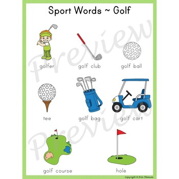 Writing Center Word List ~ Sport Words {Golf}