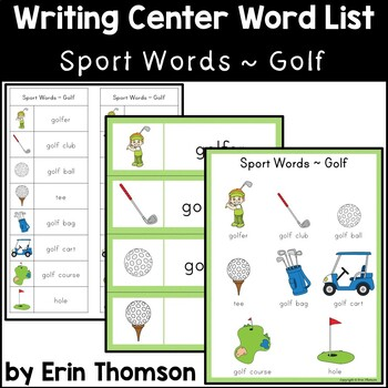 Writing Center Word List ~ Sport Words {Golf}