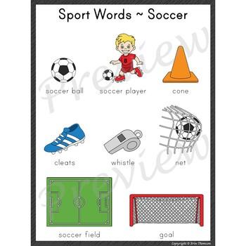 Writing Center Word List ~ Sport Words {Soccer}