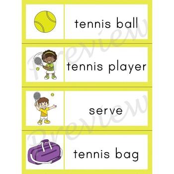 Writing Center Word List ~ Sport Words {Tennis}