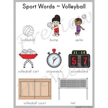 Writing Center Word List ~ Sport Words {Volleyball}