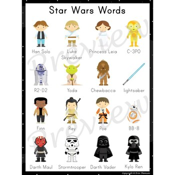 Writing Center Word List ~ Star Wars Words