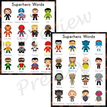 Writing Center Word List ~ Superhero Words