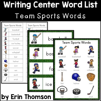 Writing Center Word List ~ Team Sports Words