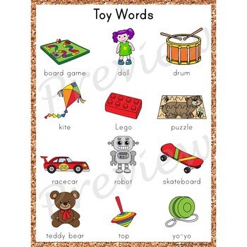 Writing Center Word List ~ Toy Words