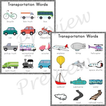 Writing Center Word List ~ Transportation Words
