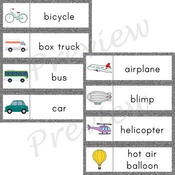 Writing Center Word List ~ Transportation Words