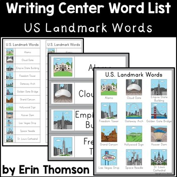 Writing Center Word List ~ U.S. Landmark Words