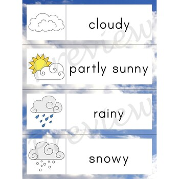 Writing Center Word List ~ Weather Words