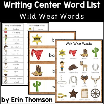 Writing Center Word List ~ Wild West Words