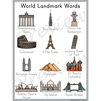 Writing Center Word List ~ World Landmark Words