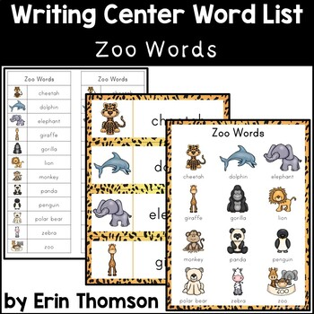 Writing Center Word List ~ Zoo Words