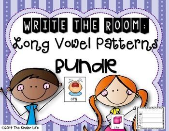 Long Vowel Patterns Write the Room Writing Center BUNDLE + 2 bonus activities
