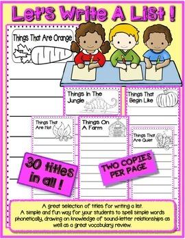 List Writing Center Kindergarten First Grade