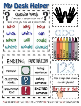 Writing Center or Desk Helper - Colors, Punctuation, Spacing, Question Words