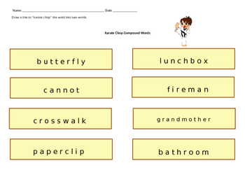 Literacy Centers: Compound Words (Karate Chop)