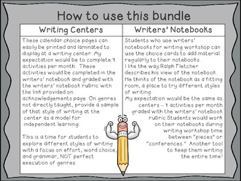Writing Centers Throughout the Year: Writer's Notebook Writing Choices