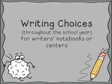 Writing Centers Throughout the Year: Writer's Notebook Wri