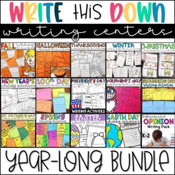 Writing Center Activities- Year Long Bundle of Writing Practice