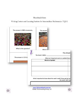Writing Centers and Learning Stations for Intermediate Mathematics