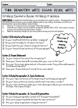Writing Centers for Practicing Essay Writing