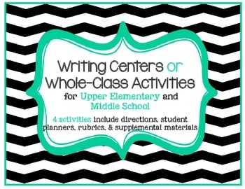 Writing Activity or Writing Center Bundle: Set of 4 w/ rubrics, planners, more