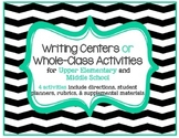 Writing Activity or Literacy Center Bundle: Set of 4 w/ rubrics, planners, more