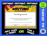 Writing Certificate - Editable