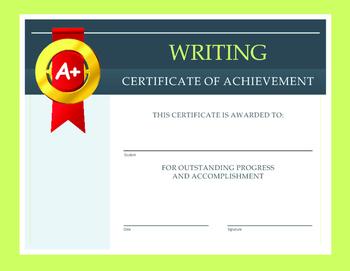 Writing Certificate of Achievement