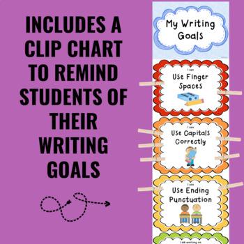 Writing Process and Writing Goal Chart BUNDLE (Rainbow Theme)