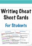 Writing Cheat Sheet Cards