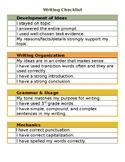 Writing Checklist 3rd Grade