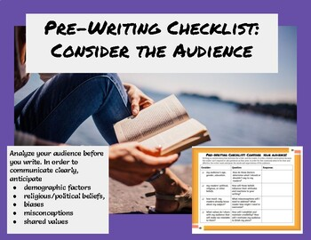 Writing Checklist Analyzing Your Audience