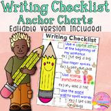 EDITABLE Writing Checklist Anchor Chart