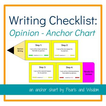 """Writing """"Self Check"""" Anchor Chart - Opinion - With """"I Can"""" Statements!"""
