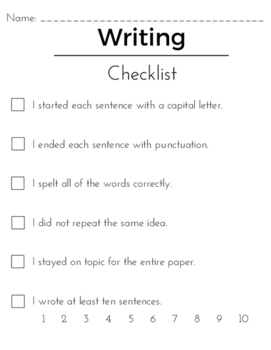 Writing Checklist - Basic