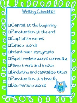 Writing Checklist - Black and White, Blue/Green with Owls