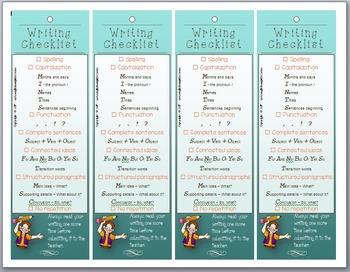 Writing Checklist - Bookmark