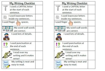 Writing Checklist Bookmark