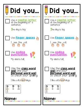 Writing Checklist Bookmark *SPANISH and ENGLISH*