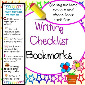 Writing Checklist Bookmark Reminders with Pictures
