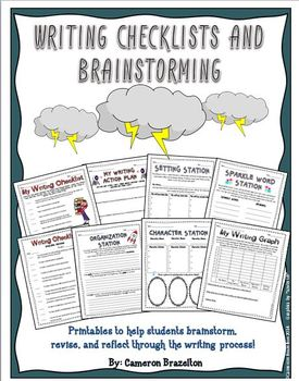 Writing Checklist, Brainstorming, Organizing, and Reflecting Printables