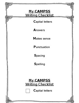 Writing Checklist CAMPSS