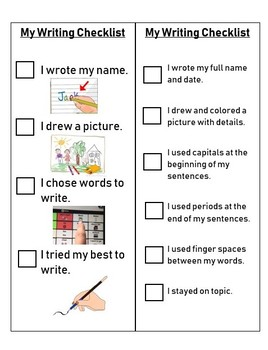 Writing Checklist - Differentiated for High & Low-Level Writers