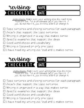 Writing Checklist English/Spanish