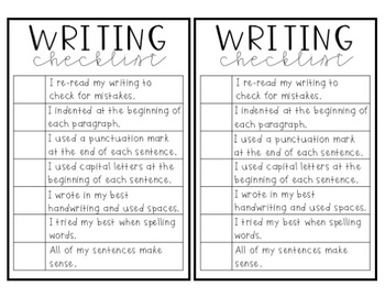 Writing Checklist FREEBIE!