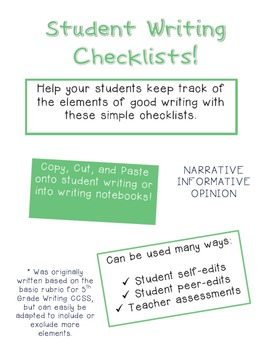 Writing Checklist - Narrative, Informative, Opinion